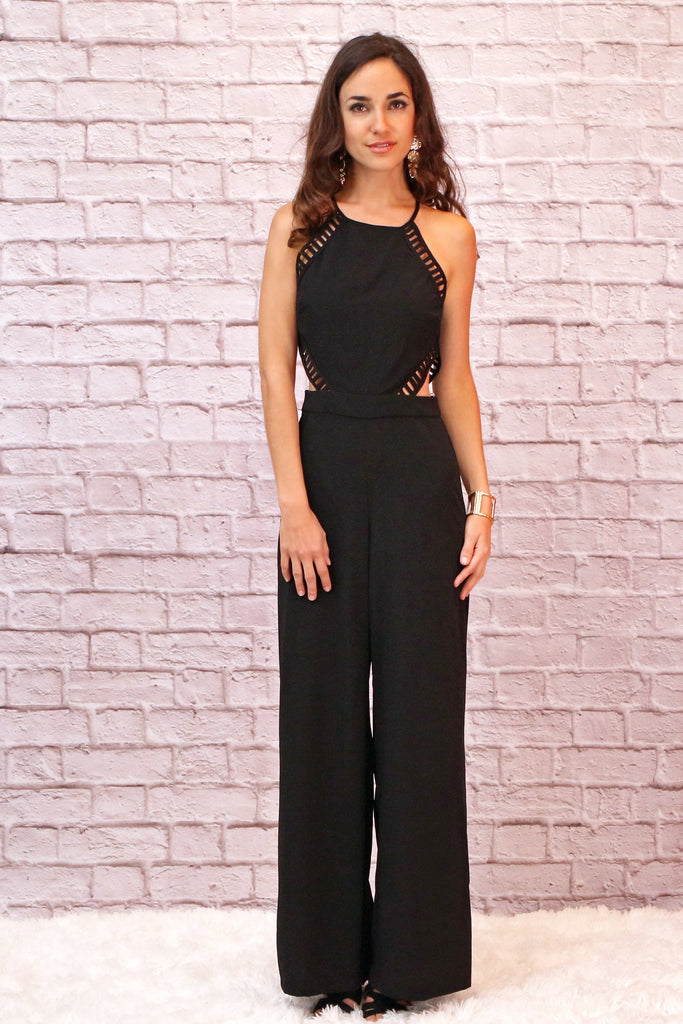 Valentina Boulevard Black Side Cutout Jumpsuit with Halter Neck