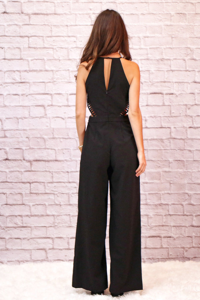 Valentina Boulevard Black Cutout Jumpsuit with Back Triangle Cutout
