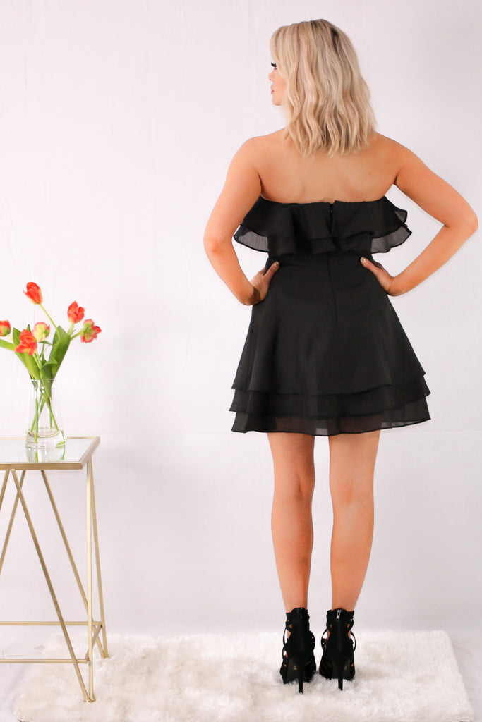 Strapless Organza Fit and Flare Dress with Ruffle Detail and Back Zip Closure