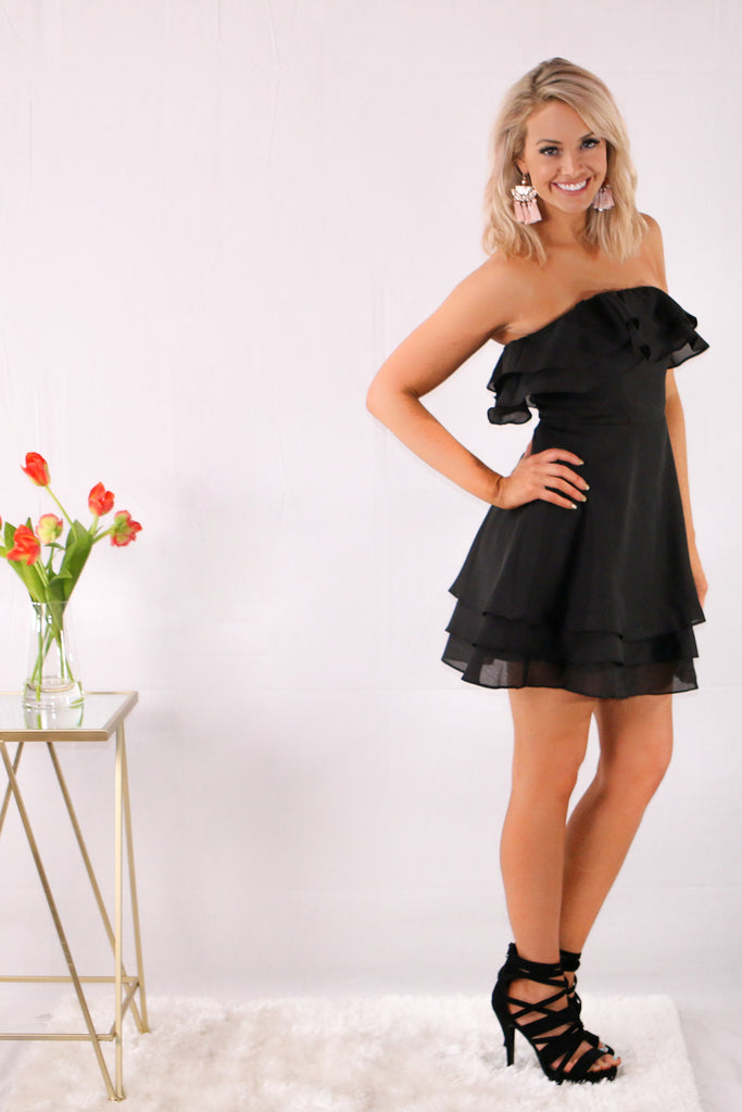 Strapless Organza Fit and Flare Dress with Ruffle Detail