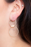 Double Decker Drop Earrings - Rose Gold