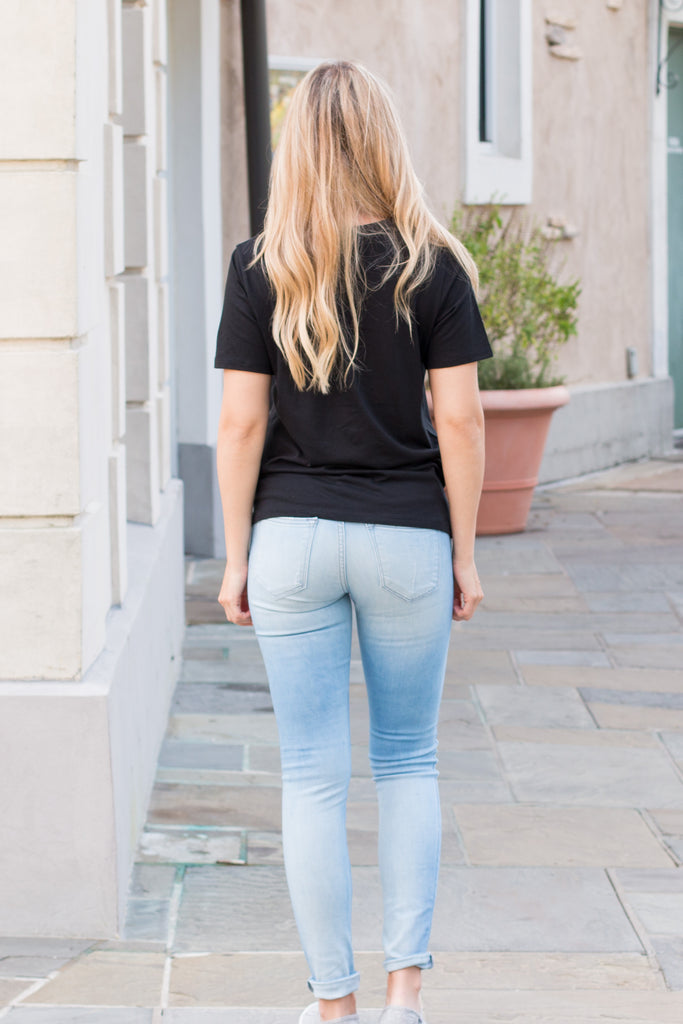 Double Zero Basic Tee in Black Fullbody Back