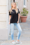 Double Zero Basic Tee in Black Right Side Fullbody