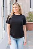 Double Zero Basic Tee in Black Front Closeup