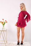 Downtown Delight Romper - Berry
