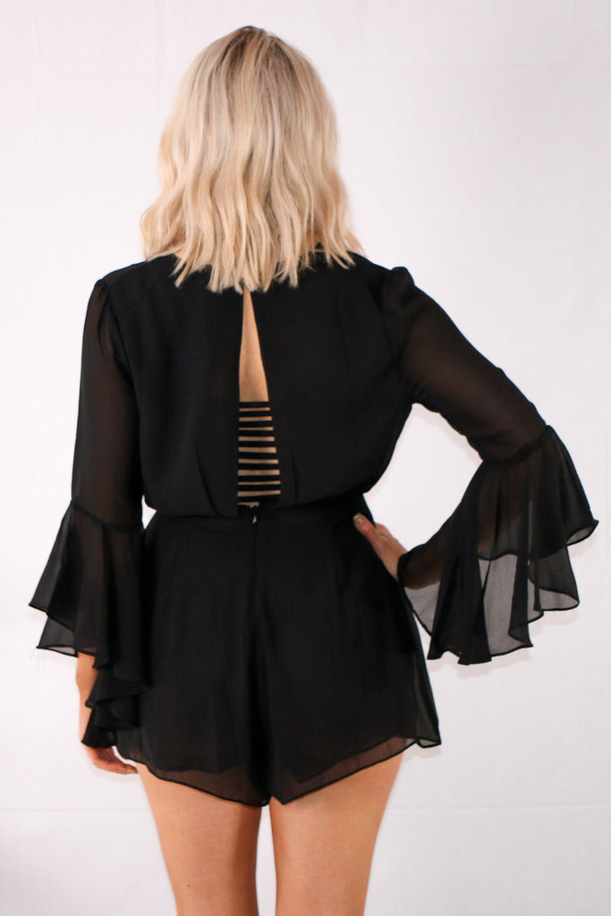 Downtown Delight Romper - Black