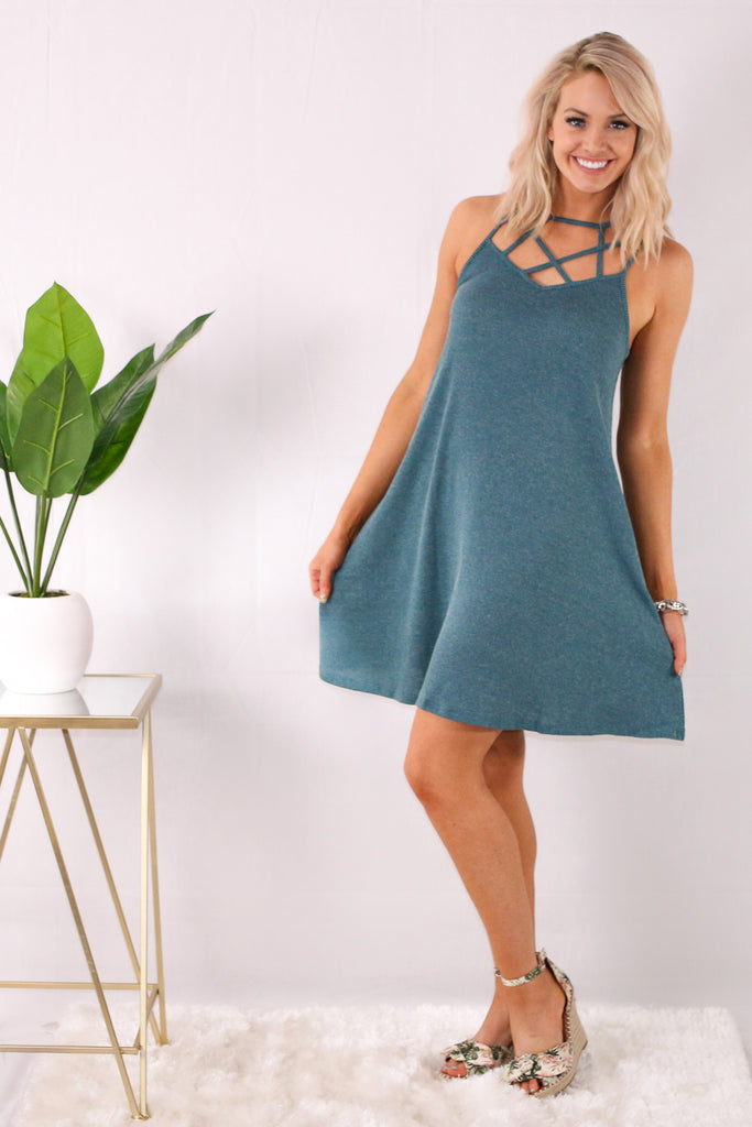 Teal Caged Neck Swing Dress with Wedges Front View
