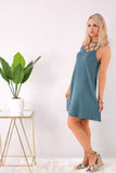 Teal Caged Neck Swing Dress with Wedges