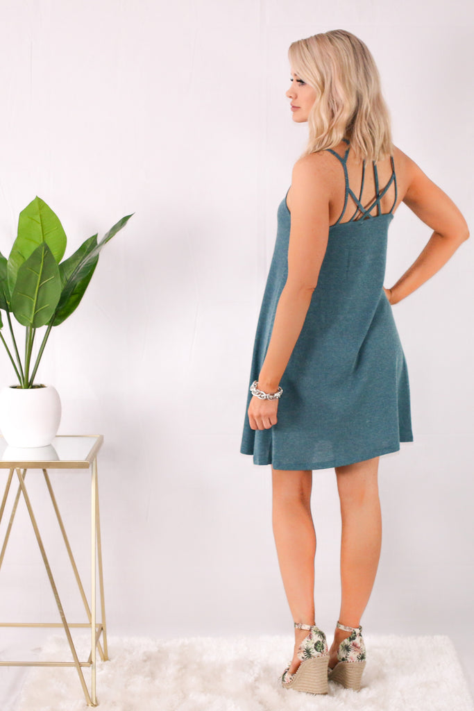 Teal Caged Neck Swing Dress Back/Over the Shoulder View