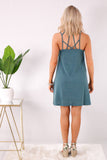Teal Caged Neck Swing Dress with Wedges Back View