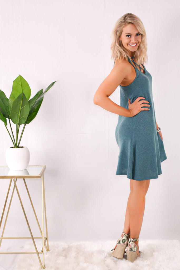Teal Caged Neck Swing Dress with Wedges Side View
