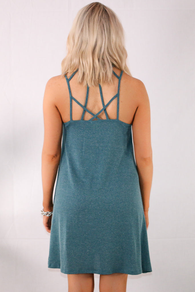 Teal Caged Neck Swing Dress Back Close Up