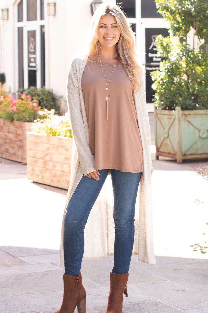 Eesome Beige Lightweight Duster Cardigan