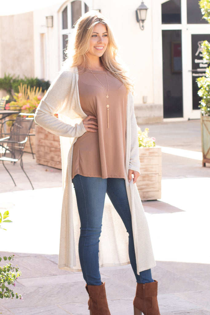 Eesome Beige Lightweight Duster Cardigan (Fullbody Front View 2)