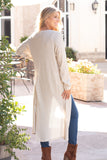 Eesome Beige Lightweight Duster Cardigan (Fullbody Right Back View)