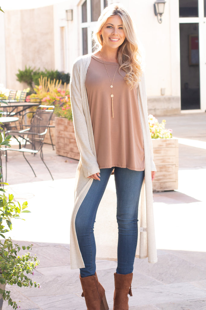 Eesome Beige Lightweight Duster Cardigan (Fullbody Front View 3)