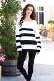 Eesome Black and White Striped Eyelash Sweater with Back Cutout