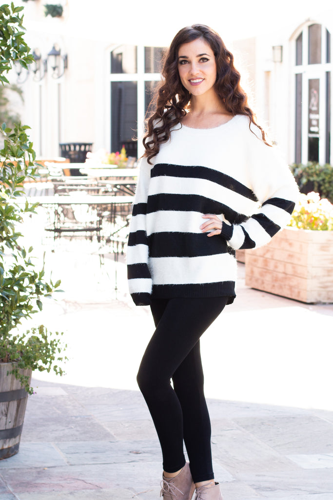 Eesome Black and White Striped Eyelash Sweater with Back Cutout (Fullbody Front Left)