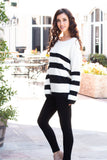Eesome Black and White Striped Eyelash Sweater with Back Cutout (Fullbody Left Side)