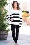 Eesome Black and White Striped Eyelash Sweater with Back Cutout (Fullbody Front)