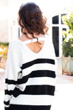 Eesome Black and White Striped Eyelash Sweater with Back Cutout (Back Closeup 1)