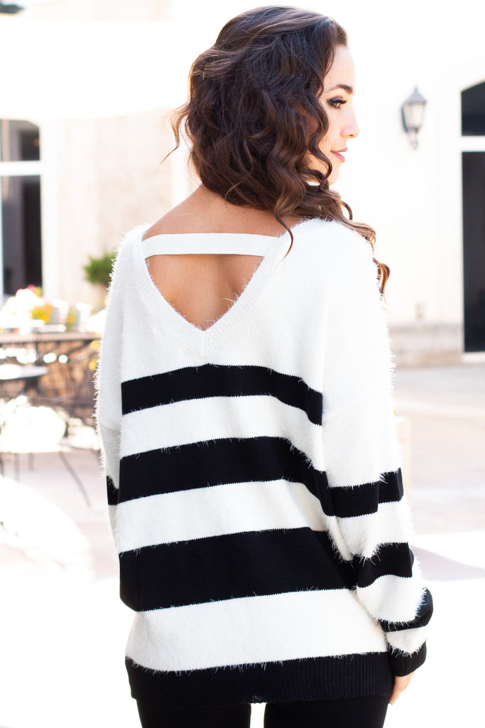 Eesome Black and White Striped Eyelash Sweater with Back Cutout (Back Closeup 2)