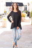 Eesome Charcoal Sharkbite Hem Long Sleeve Top (Fullbody Front View Leg Cross)