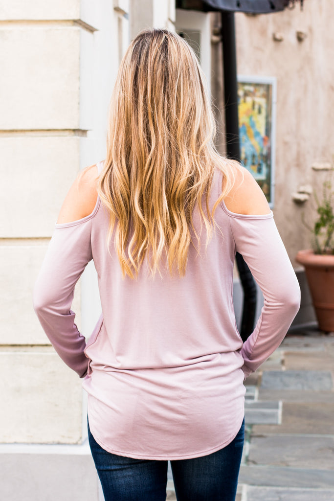 Eesome Pink Strappy Cross-Front Cold-Shoulder Top Back Closeup