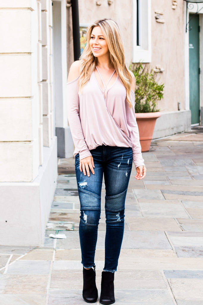 Eesome Pink Strappy Cross-Front Cold-Shoulder Top