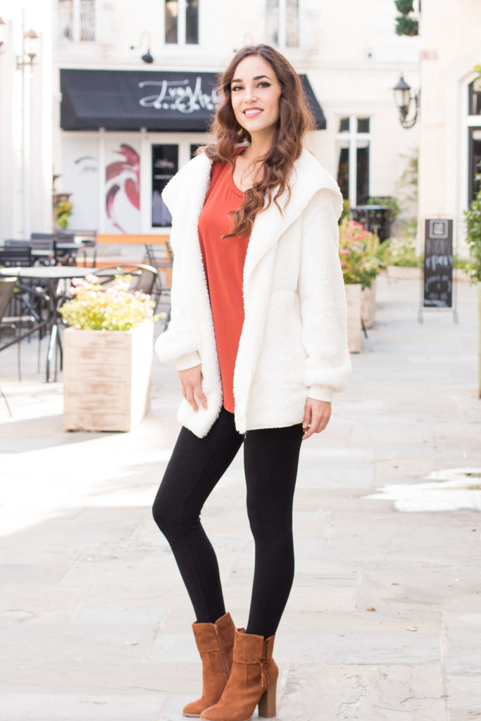 Eesome Teddy Jacket in Off White Fullbody Front Left View