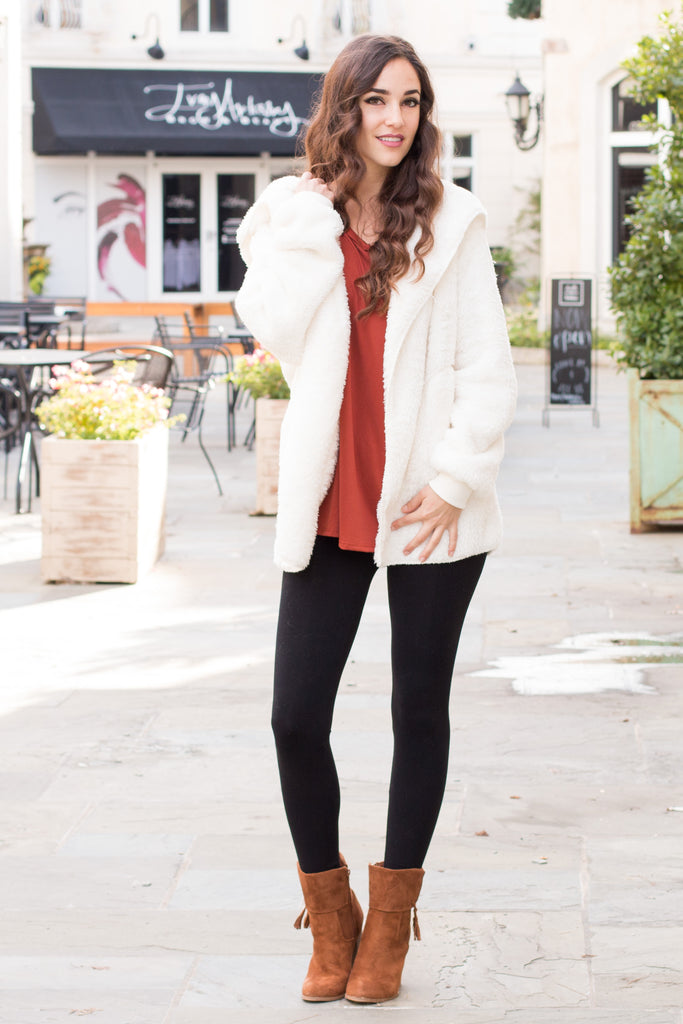 Eesome Teddy Jacket in Off White Fullbody Front View 2