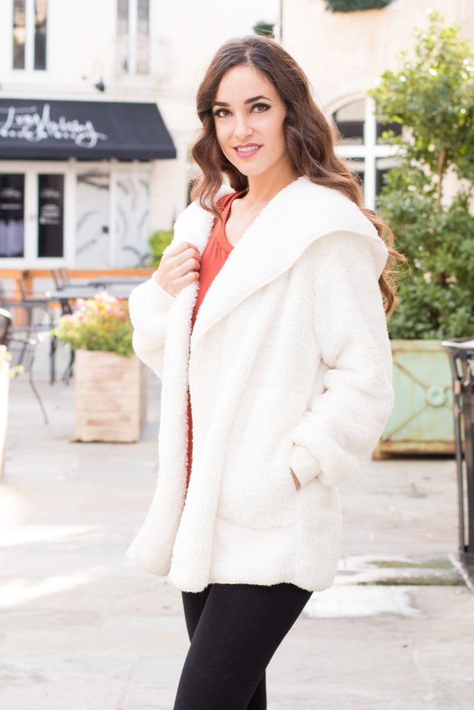 Eesome Teddy Jacket in Off White