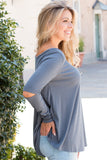 Live Happy Split Elbow Top - Slate