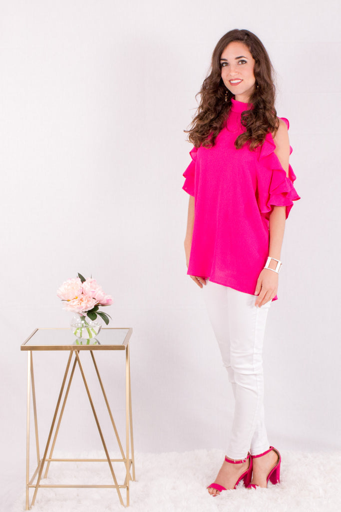 Hot Pink Ruffle Sleeve Cold Shoulder Top Front View 2
