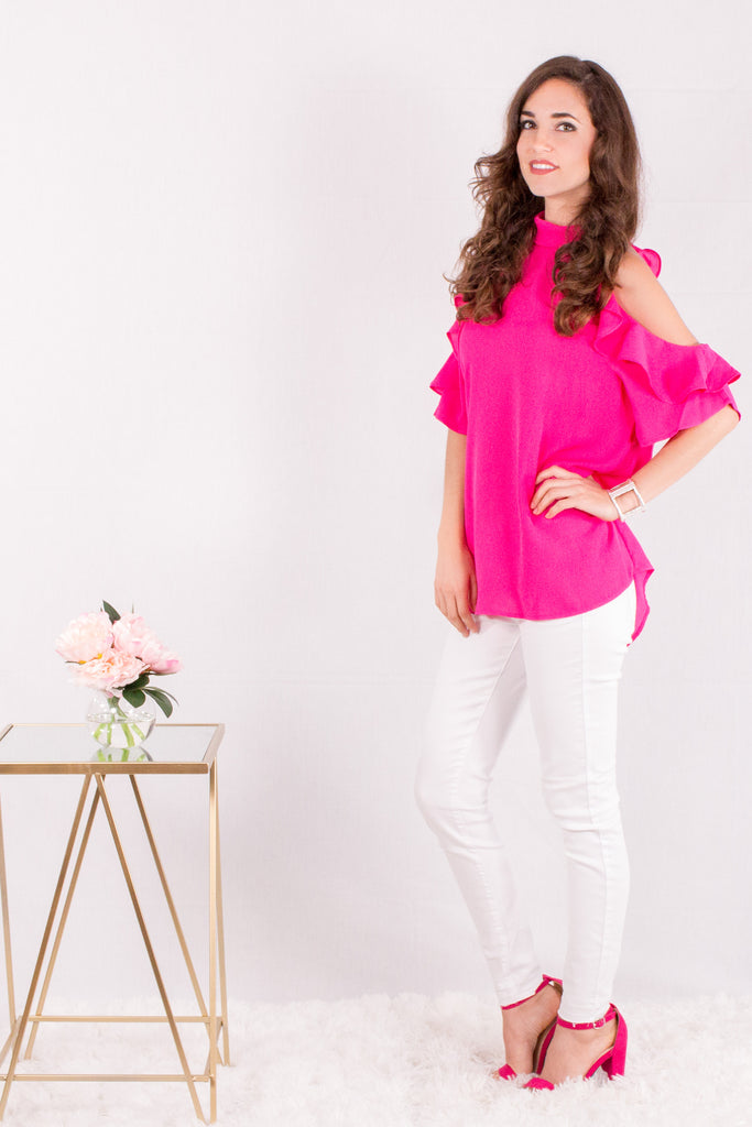 Hot Pink Ruffle Sleeve Cold Shoulder Top Side View