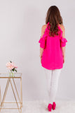 Hot Pink Ruffle Sleeve Cold Shoulder Top Back View