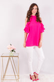 Hot Pink Ruffle Sleeve Cold Shoulder Top Front View 3