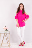 Hot Pink Ruffle Sleeve Cold Shoulder Top Front View