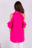 Hot Pink Ruffle Sleeve Cold Shoulder Top Back View Close Up