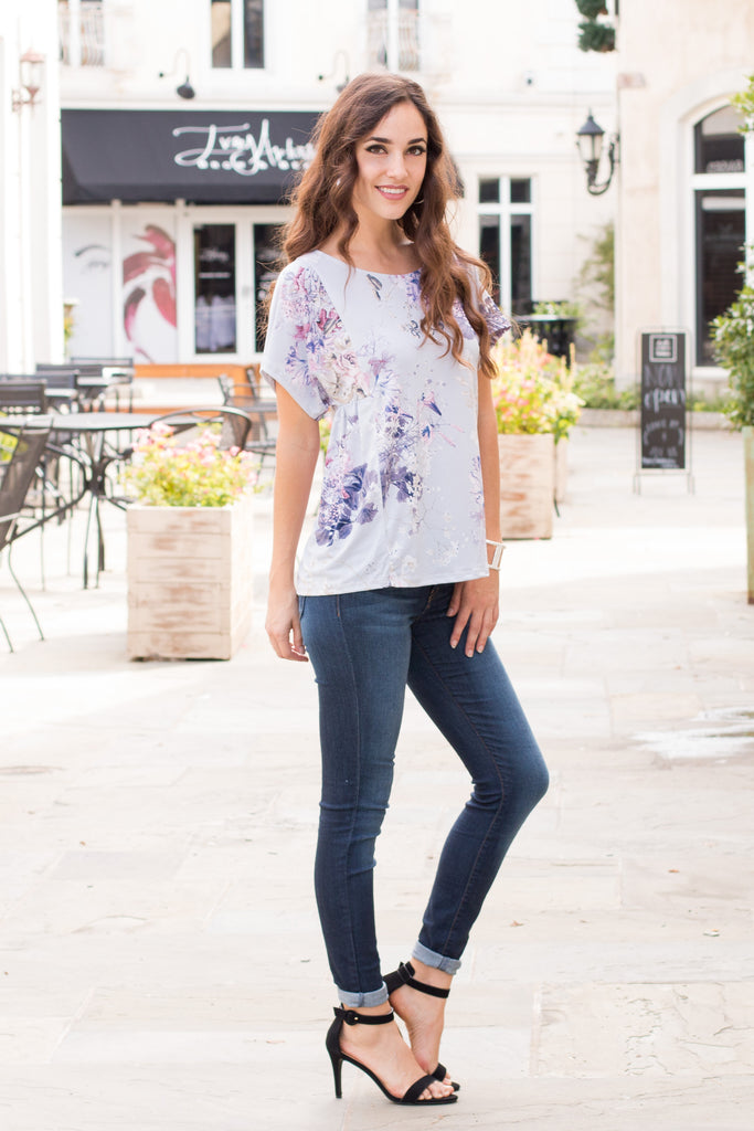It's the Little Things Floral Print Top- Gray