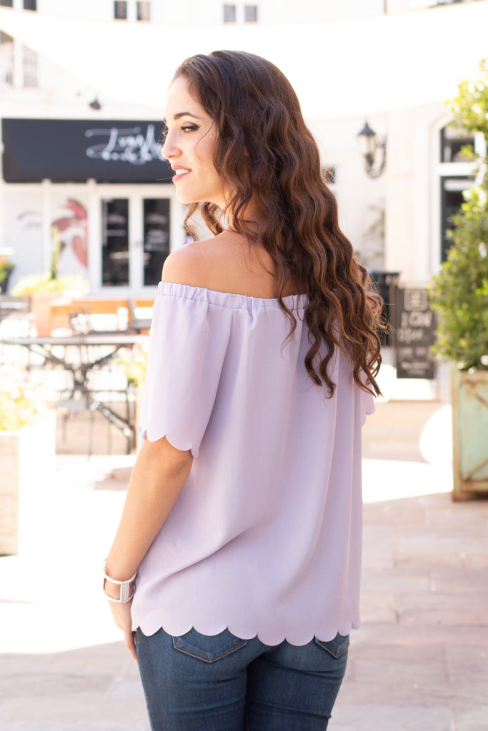 Lost in A Daydream Scallop Hem Top- Violet