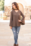 Olive Knit Bell Sleeve Top with Cutout Choker Neck Fullbody Front View 2