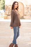 Olive Knit Bell Sleeve Top with Cutout Choker Neck Fullbody Front Right View