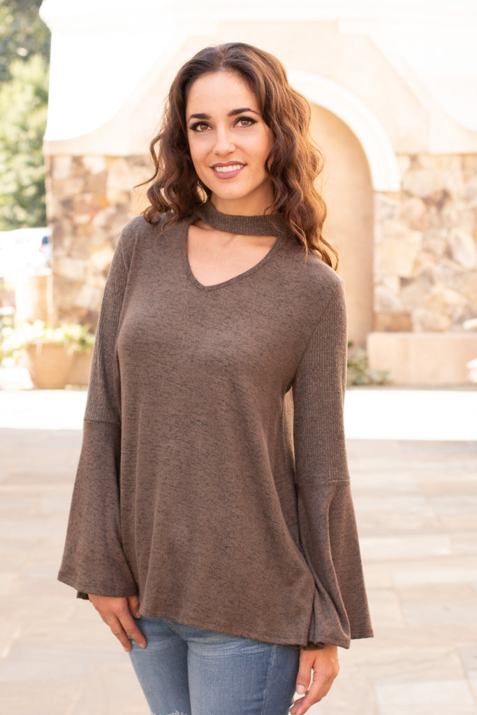 Olive Knit Bell Sleeve Top with Cutout Choker Neck Close Up Front View