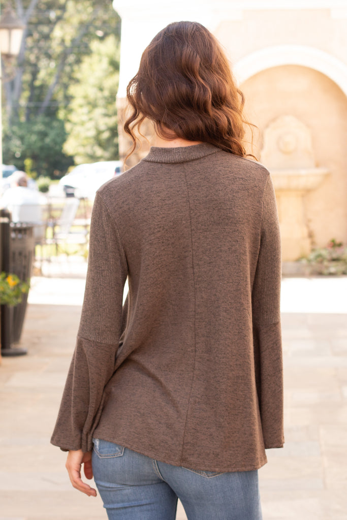 Olive Knit Bell Sleeve Top with Cutout Choker Neck Close Up Back View