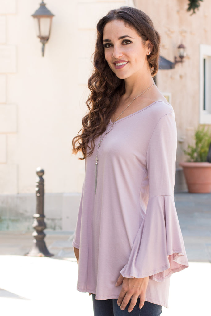 Purple V-Neck Bell Sleeve Top with Back Tie Front Left Close Up