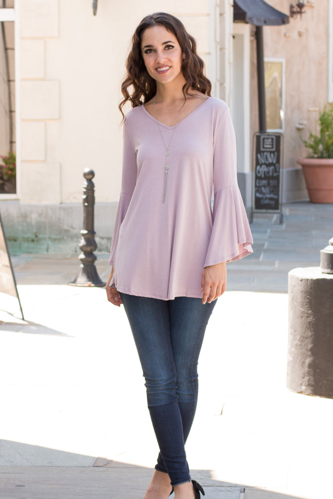 Purple V-Neck Bell Sleeve Top with Back Tie Fullbody Front View