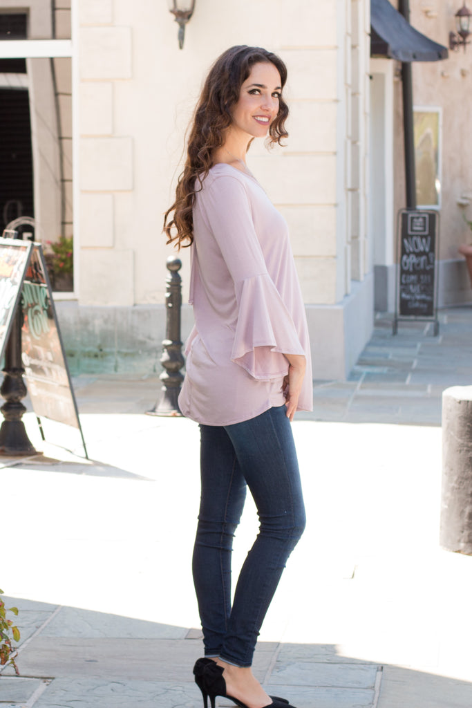 Purple V-Neck Bell Sleeve Top with Back Tie Fullbody Right Side View