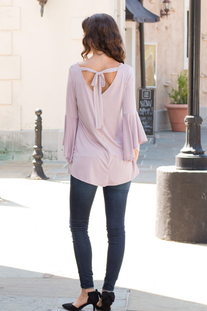 Purple V-Neck Bell Sleeve Top with Back Tie Fullbody Back View