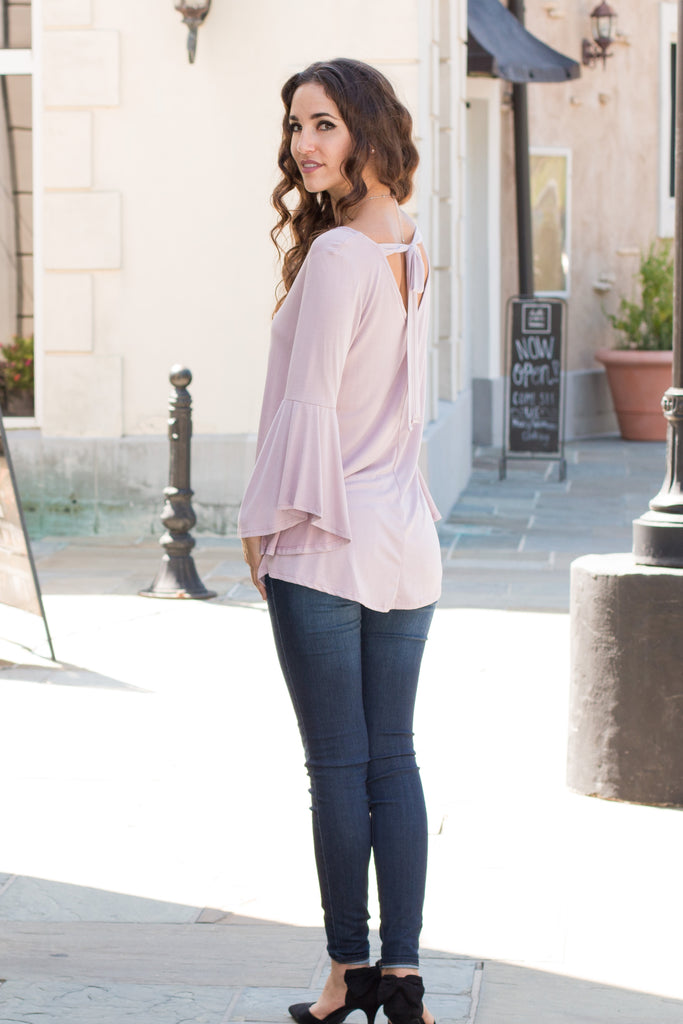 Purple V-Neck Bell Sleeve Top with Back Tie Fullbody Back Left View